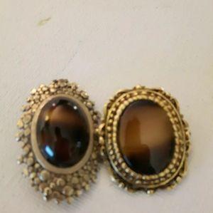 Two Tiger Eye Brooch Pin money clip brooch